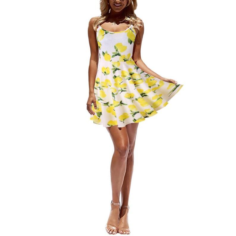 Spaghetti Strap V Neck Floral Print Dress