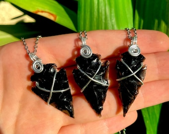 The Archer | Black Obsidian Necklace Arrow Shaped Jewelry Obsidian Obsidian Tip Obsidian Arrow Raw Crystals Witch Necklace