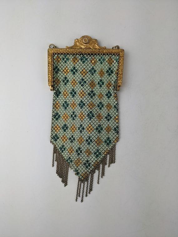 Vintage Mandalian Mesh Purse Enamel 1920's Purse
