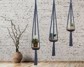 Blue Macrame Hanging Shelf, Solid Oak, Modern Floating Plant Holder, Hanging Planter Indoor, Small Book Shelf, Boho Decor , Plant Lover Gift