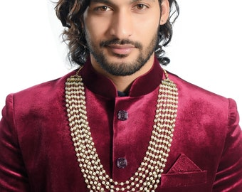 Bollywood Indian Long Pearl Jewelry Necklace Pearl Bead  Fashion Necklace Dulha Kantha Men Groom For Wedding Wear( Dule Ki Mala )