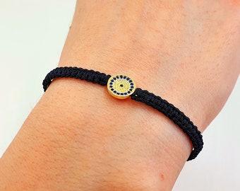 Eye Sterling Silver Evil Gift for Her Macrame Gemstone Turquoise /& Tiny Zircon Handmade Bracelet 925 Large