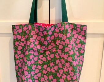 Beach Lined Cloth Tote Bag Library Canvas Tote Grocery Reusable Bag Blue Artisan Medallion Market