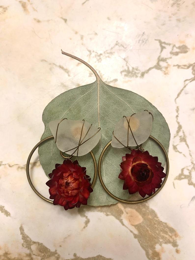 Red Strawflower Hoops