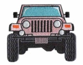Pink Jeep Style 4x4 Off Road Embroidered Iron and or Sew-On Patch