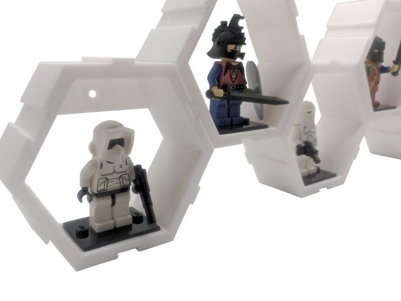 5 Pack Modular Hexagon Wall or Desk Display for LEGO Minifigures