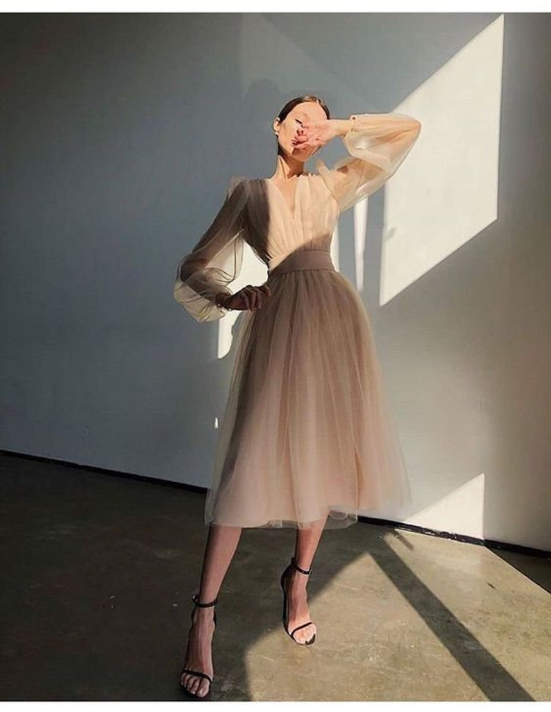Tulle Wedding Dress, A-line Bridal Gown, Boho Wedding Dress with Long Sleeves
