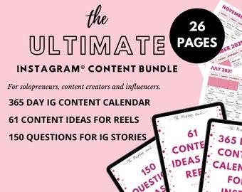Instagram Bundle - 365 Days Instagram® Content Calendar   150 Questions for IG Stories   61 Content Ideas for Reels