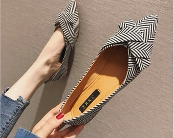New Womens Bowknot Slip On Loafers Flats Pointy Toe Casual Slippers Shoes Mules