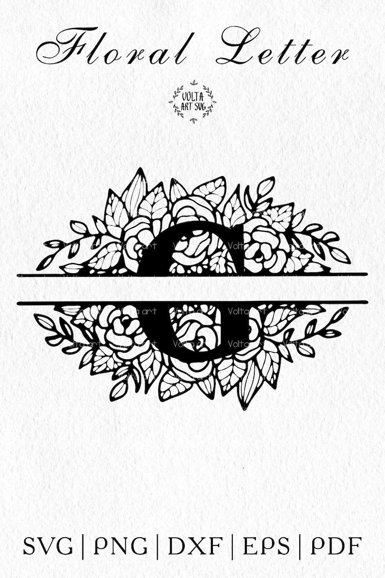 Floral Letter G svg Flower Letter G Capital letter Botanical Alphabet Svg Silhouette Split Monogram Letter Png Dxf Pdf Eps