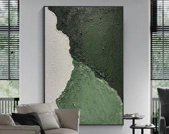 Modern Abstract art,Original Hunter Green painting,Minimalist Abstract Art Beige Acrylic painting,Heavy Texture,Large framed wall art