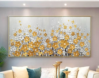 Gold Flower Painting,3D texture oil Painting,Extra large original framed wall art,Palette Knife acrylic painting on canvas Gold Framed Gift