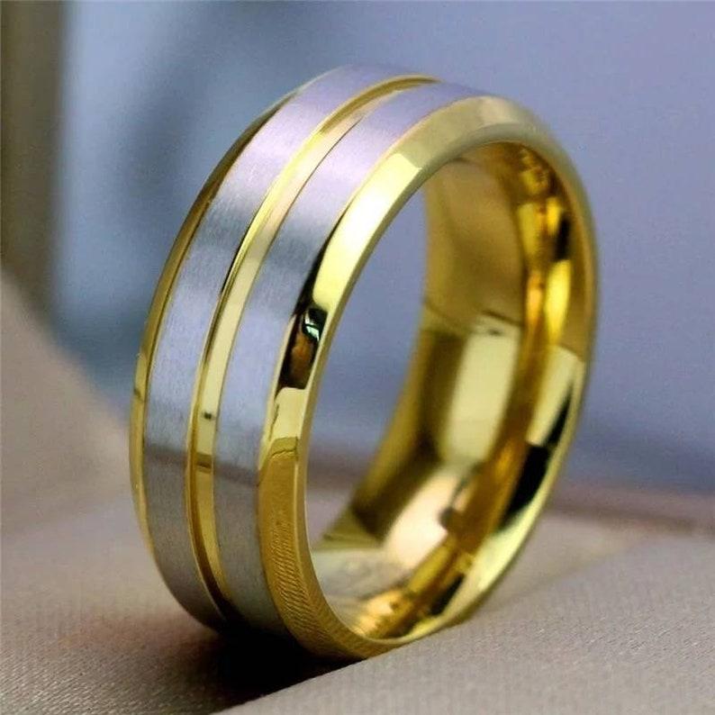 Mens Band Hypoallergenic Silver Titanium Ring Mens Silver Titanium Wedding Band Mens Silver Titanium Ring Titanium Gold /& Silver Ring
