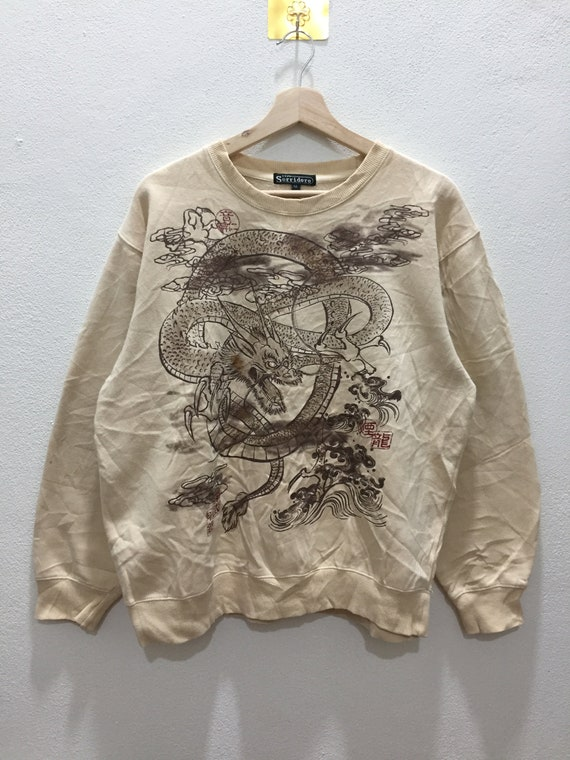 Sukajan Dragon Overprint Crewneck Swearshirt