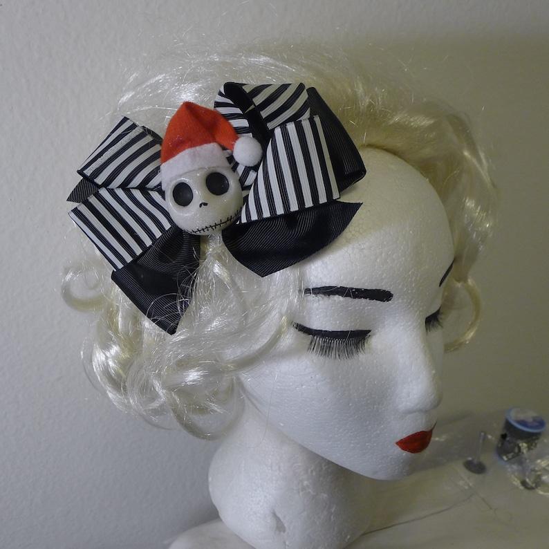 Jack Skellington Hair Bow Nightmare Before Christmas Black White Stripped Bow Santa Hat on Skull Creepmas Creepy Krampus Gothic ....
