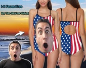 American Flag Swimsuit,Custom Face Women 39 s One-Piece Swimsuit,Personalize Sexy Bathing Suit,Gift for Independence Day