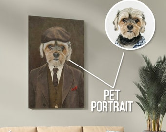 Dog Animal Portrait Cat Frameless Present Ideas Gift Cute Peaky Blinders Custom Thomas Shelby Pet Oil Painting Style Portrait Funny