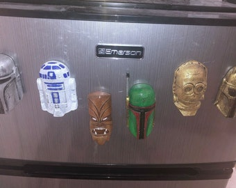 Hand-painted Star Wars Tiki Fridge Magnet 3D Prints (Hex3D Model)