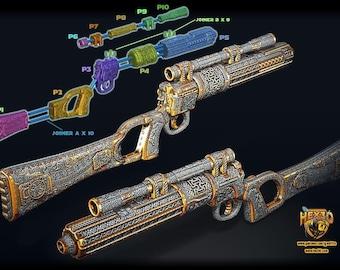 Fancy Filigree Boba Fett EE-3 Carbine Blaster (ROTJ) Deluxe Version - 3D Printed Kit Inspired by Star Wars Return of the Jedi (Hex3D Design)