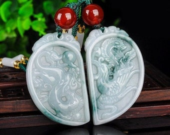 Unique Antique Yellow Jade Pendant Double Dragon Phoenix Blessing Happiness Carved Pendant Amulet Talisman Y0