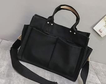Cotton Canvas Basic Bag with Big Pockets Zipper Everyday Bag Travel Large Pockets Washable Crossbody Shoulder Bag for Women Adjustable Strap