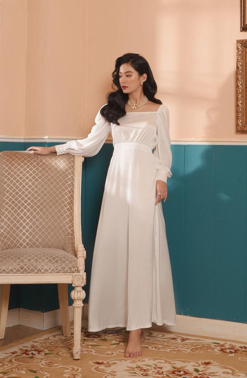 Victorian Dresses | Victorian Ballgowns | Victorian Clothing     Read the full title    Square Neckline White Dress - Silk Dress For Women - Long Sleeve Dress - High Waist Satin Dress  AT vintagedancer.com