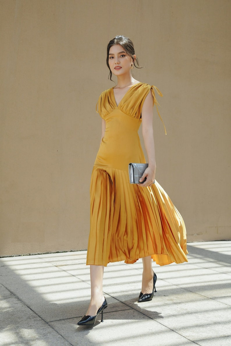 Pleated Satin Dress V Neckline Dress Midi Silk Dress A Line Feminine Dress