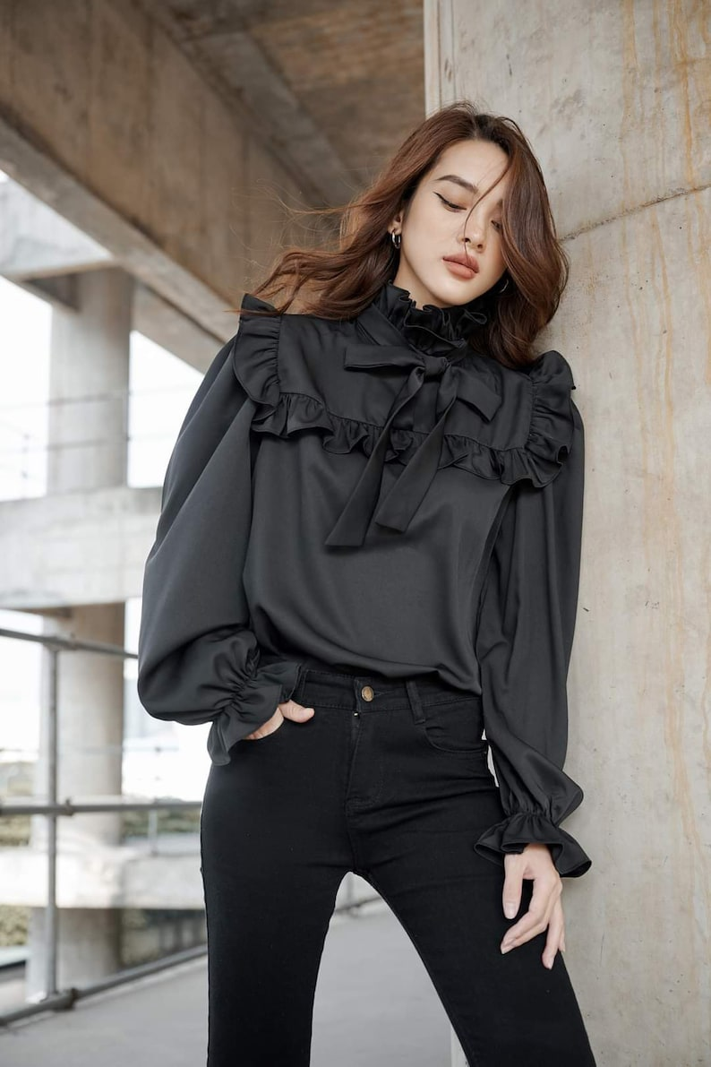 Victorian Blouses, Tops, Shirts, Vests, Sweaters     Read the full title    High Neck Silk Blouse - Long Sleeve Formal Shirt Women - Fall Satin Blouse - Black Silk Top - Unique Silk Blouse - Blouse Silk Vintage  AT vintagedancer.com