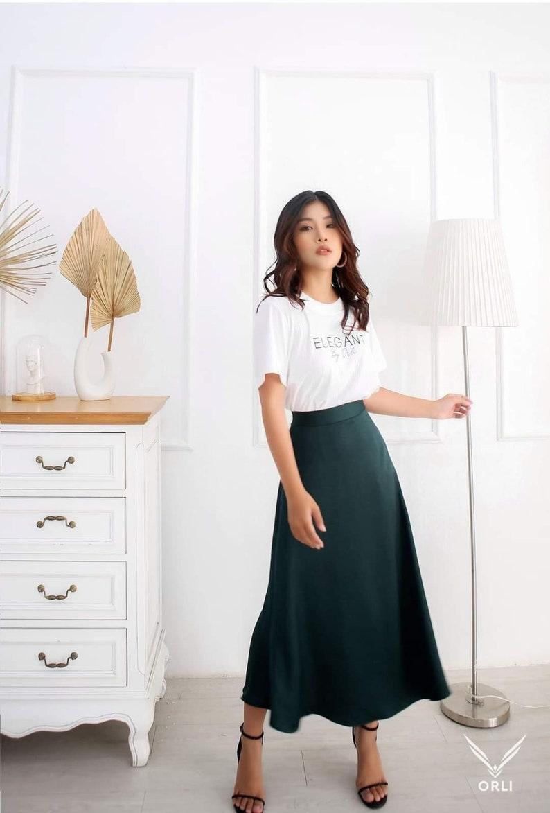 1940s Style Skirts- Vintage High Waisted Skirts     Read the full title    High Waisted Skirt - Midi Skirt For Women - Wedding Guest  Skirt - Aline Satin Skirt - Simple Satin Midi Skirt - Modest Silk Skirt  AT vintagedancer.com