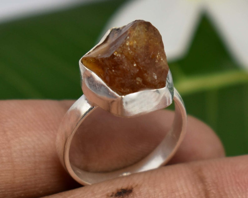 Minimalist Ring Stacking Ring Stackable Ring Silver Gift for Her 925 Sterling Silver Ring Real Citrine Gemstone Ring Raw Stone Ring