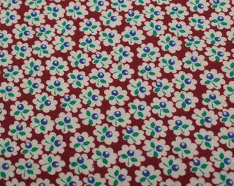 """1950s Vintage cotton fabric, floral, 1 yd by 27"""""""