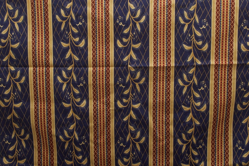 80s flower leaves strips fabric  dark blue yellow brown  Kitchen Cotton Vintage Fabric
