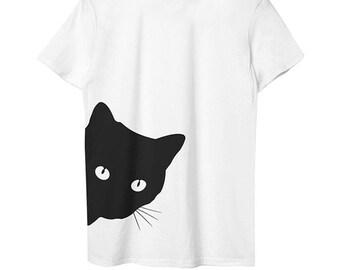 T Shirt Printing Cartoon Black Cat Face - Meow T-Shirt Design - Cat Mom Teeshirts - Cat Owner Teespring - Cat Lover Tees