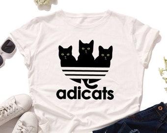 T Shirt Design Adicats Print Casuals Dress Graphic Tees For Women Girl - Cat Mom Teeshirts - Cat Owner Tees - Teespring Cat Lover
