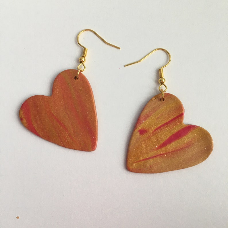2 Styles Fuchsia and Gold Polymer Clay Earring