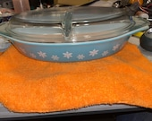 Vintage Turquoise Snowflake Pattern Pyrex Lidded Divided Casserole Dish