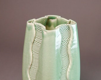 """Porcelain vase #540 """"River"""""""