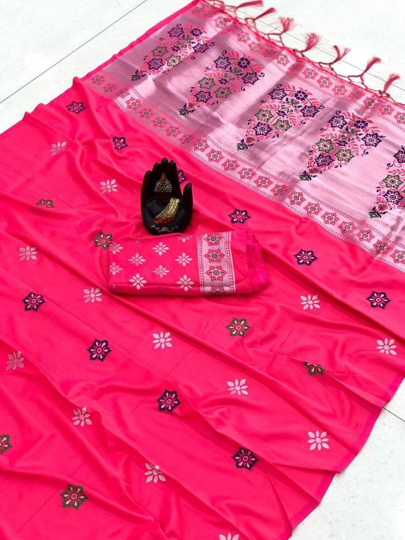Traditional saree lichi silk weaving silver zari Attractive design Meena HEAVY Rich pallu with zalar saree sari