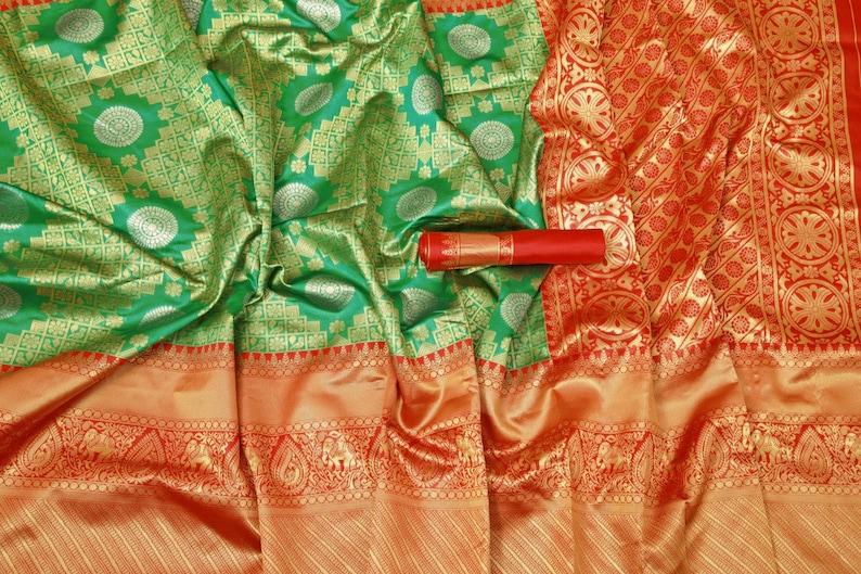 Traditional saree for women Beautiful Art Silk Jacquard Border Saree With Unstitched Running Blouse For Women Wedding Wear Party saree sari