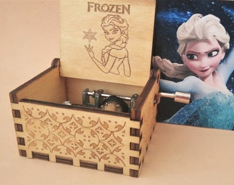 Frozen Logo Engraved Wooden Music Box Musical Sound Disney Princess 30