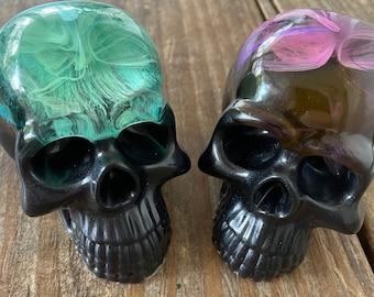 Alcohol ink skulls, Ice Skull, cold Skull, Resin Skull, paperweight, sculpture, skull paperweight