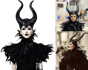 Halloween Feather Cape Shawl with Maleficent Horns Headband Set Halloween Costumes Couples Adults, Halloween Crow Costume For Women's, Men's