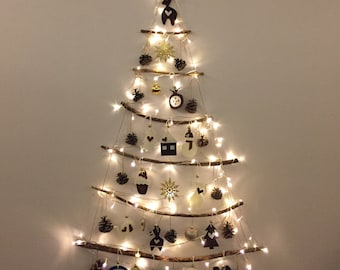 Wall Christmas Tree with Lights, Hanging Wall Decorative Tree, Handmade Wall Decor, Christmas Tree Decorations, Newyear Tree