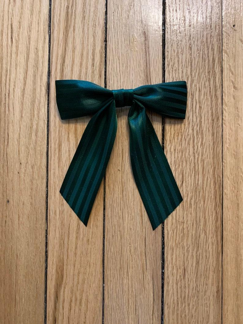 Alligator Clip Satin Ribbon Handmade Green Stripe Small \u201cCora\u201d Ribbon Bow Clip