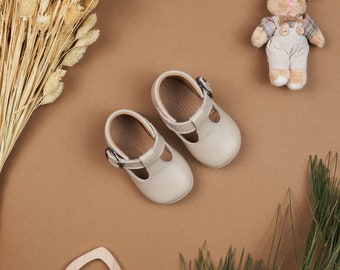 T-bar Baby Shoes, Beige T-bar Infant Shoes, Beige T-bar Infant Moccasins, Beige Baby Moccasins, Toddler Slippers, Ballerina, Newborn Gift