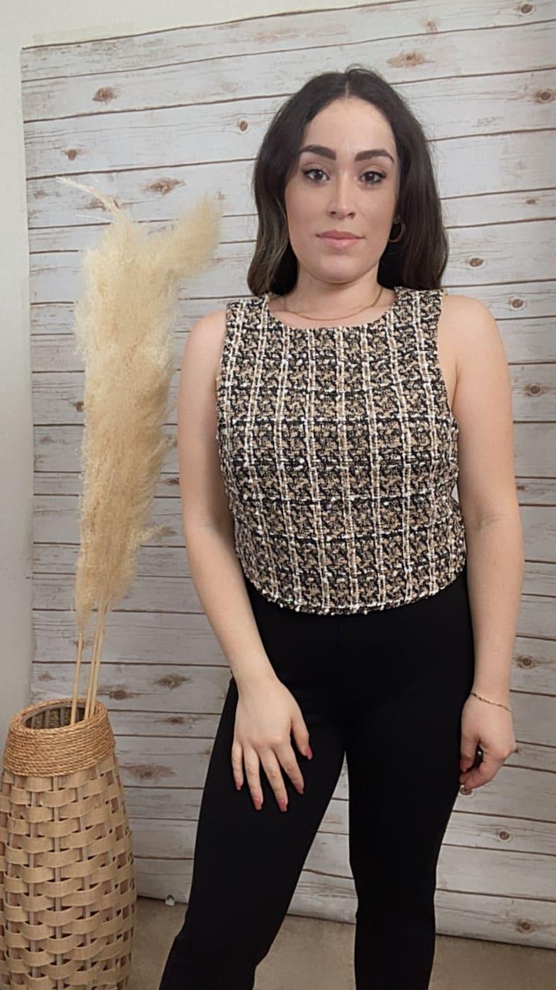 Desiree Tweed Crop Top