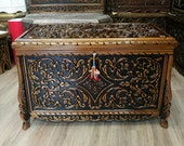 Walnut carved Chest hand carved Maraş chest, carved chest of walnut wood