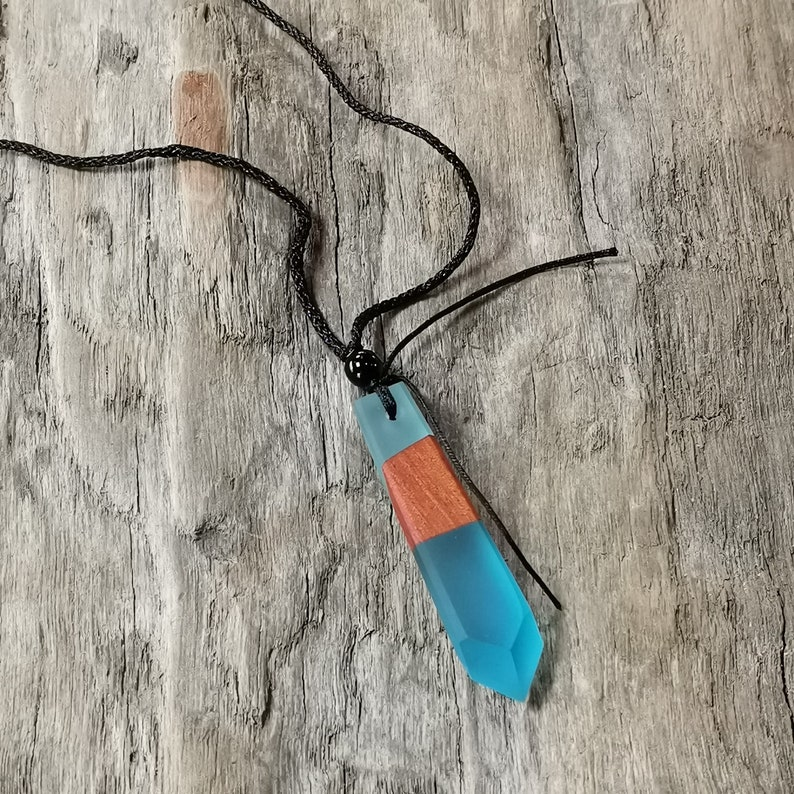 handcrafted wooden and resin pendant
