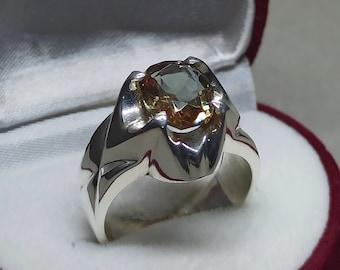 Oval Cut 3 Carat Alexandrite Women Cross Shape Ring Sterling Silver 925 Handmade Color Changing Alexandrite Anniversary Ring