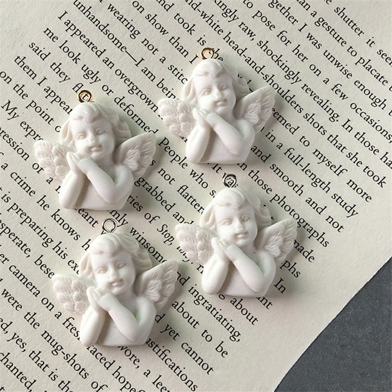 10pcsWhite Wing Angel 3D Resin Charms For Jewelry Findings Cute Girl Necklace Pendant Eardrop Earrings Accessory,Bracelet,Phone lucky charms